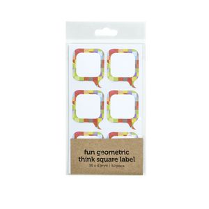 Geometric Think Label 35 x 43mm 30 Pack