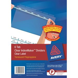 Avery A4 IndexMaker with 6 Tabs Clear