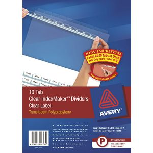 Avery A4 IndexMaker with 10 Tabs Clear