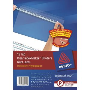 Avery A4 IndexMaker with 12 Tabs Clear