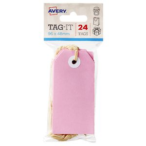 Avery Tag-It with String 96 x 48mm Pink 24 Pack