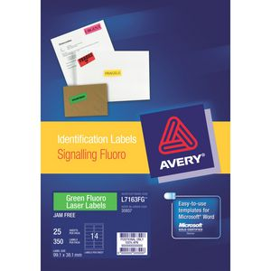 Avery Fluoro Green Signalling Labels 25 Sheets 14 Per Page