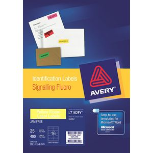 Avery Signalling Labels Fluro Yellow 25 Sheets 16 Per Page