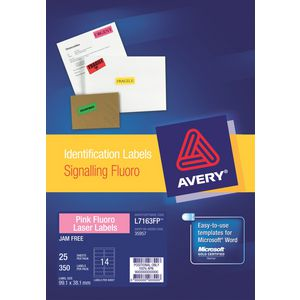 Avery Fluoro Pink Signalling Labels 25 Sheets 14 Per Page