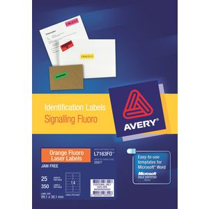 Avery Fluoro Orange Signalling Labels 14up Pk/25