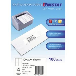 UNISTAT Laser Inkjet & Copier Labels 105 x 148mm 4 Labels/Sheet 100 Labels/Pk