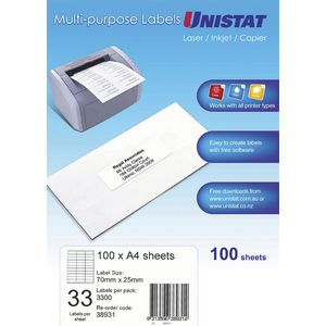 UNISTAT Laser Inkjet & Copier Labels 70 x 25mm 33 Labels/Sheet 3300 Labels/Pk