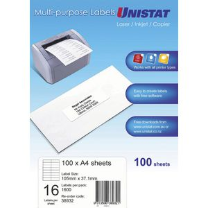 UNISTAT Laser Inkjet & Copier Labels 105 x 37mm 16 Labels/Sheet 1600 Labels/Pk