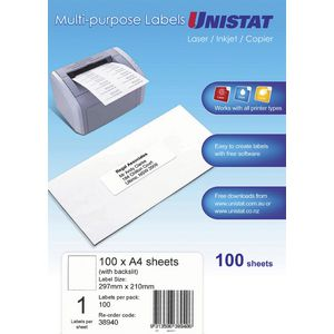 Unistat Printable Labels 100 Sheets 1 Per Page