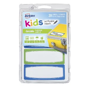 Avery Kids Writeable Labels Blue and Green 20 Pack