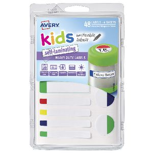 Avery Self-Laminating Kids Labels Assorted Neon 48 Pack