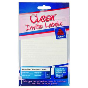 Avery Print or Write Invite Labels Rectangle Clear 75 Pack