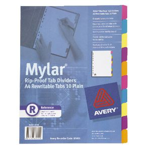 Avery A4 Rip-Proof Rewritable 10 Tab Dividers