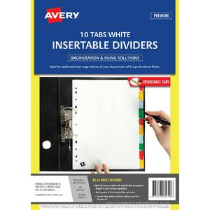 Avery A4 Insertable Polypropylene Dividers with 10 Tab White