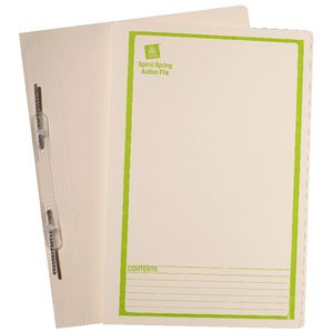 Avery Foolscap Spiral Spring File Buff with Green Print