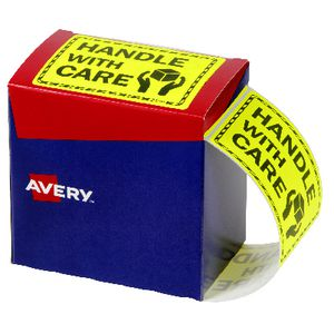 Avery 75 x 99.6mm Handle With Care Labels Fluro Yellow