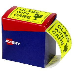 Avery 'Glass Handle with Care' Labels 75 x 99.6mm Yellow