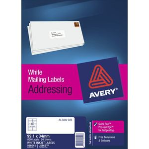 Avery White Address Labels (J8162) 99.1 x 34mm Pk/800