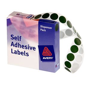 Avery Self Adhesive Round Labels Green 14mm 1050 Pack