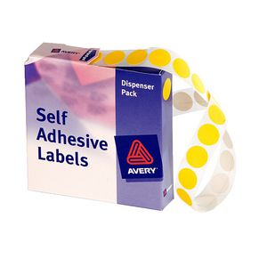 Avery Self Adhesive Round Labels Yellow 14mm 1050 Pack
