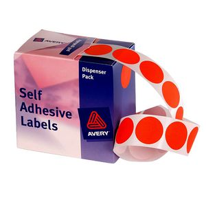 Avery Self Adhesive Round Labels Red 24mm 500 Pack