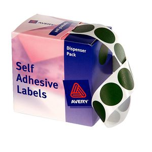 Avery Dispenser Labels Circle 24mm Green 500 Pack