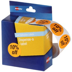 Avery Pre-printed Dispenser Label '10% Off' 24mm 500 Pack