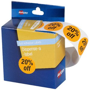 Avery Pre-printed Dispenser Label '20% Off' 24mm 500 Pack