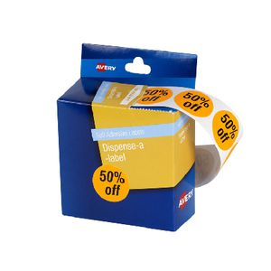 Avery Pre-printed Dispenser Label '50% Off' 24mm 500 Pack