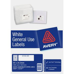 Avery General Use Labels White 33 UP 100 Sheet