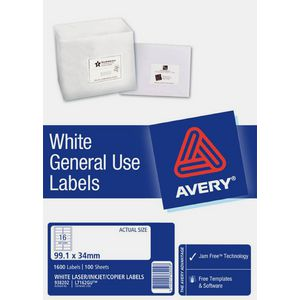 Avery General Use Labels White 16 UP 100 Sheet