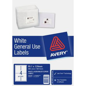 Avery General Use Labels White 4 UP 100 Sheet