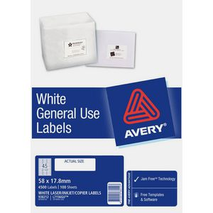 Avery General Use Labels White 45 UP 100 Sheet