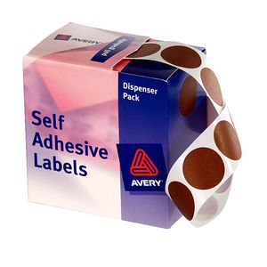 Avery Dispenser Labels Circle 24mm Brown 500 Pack