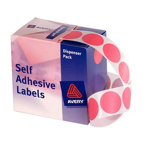 Avery Dispenser Labels Circle 24mm Pink 500 Pack