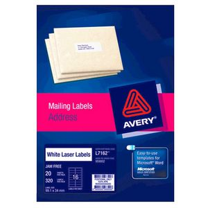 Avery Laser Address Labels White 20 Sheets 16 Per Page