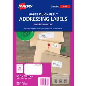 Avery Laser Address Labels White 100 Sheets 21 Per Page