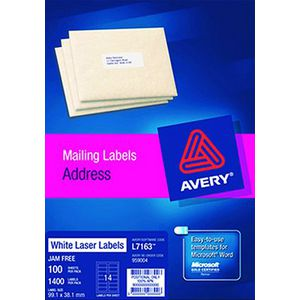 Avery White Address Labels Matte (L7163) 99.1 x 38.1mm Pk/1400