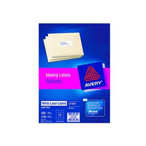 Avery Laser Address Labels White 100 Sheets 12 Per Page