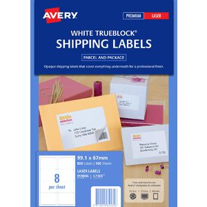 Avery Laser Shipping Labels White 100 Sheets 8 Per Page