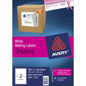 Avery Laser Shipping Labels White 100 Sheets 2 Per Page