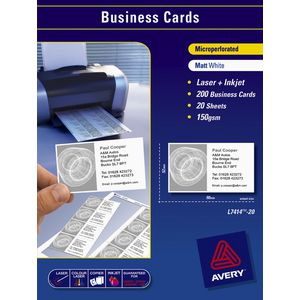 Avery Business Cards White 20 Sheets 10 Per Page