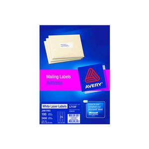 Avery Laser Address Labels White 100 Sheets 24 Per Page