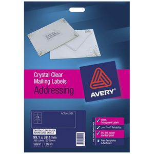 Avery Laser Addressing Labels Clear 25 Sheets 14 Per Page