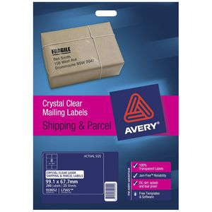 Avery Laser Shipping Labels Clear 25 Sheets 8 Per Page