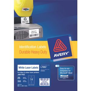 Avery Heavy Duty Laser Labels White 25 Sheets 14 Per Page