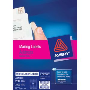 Avery Laser Address Labels White 250 Sheets 14 Per Page