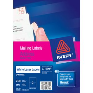 Avery Laser Mailing Labels White 250 Sheets 2 Per Page