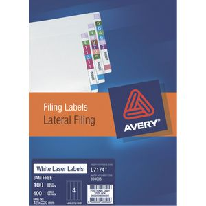 Avery Lateral Filing Label A4 400 Pack
