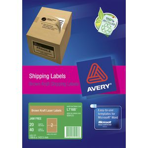Avery Shipping Labels Kraft Brown 20 Pack